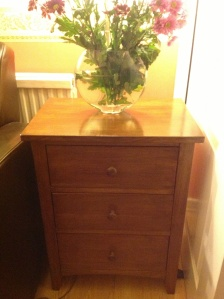 Completed chest of drawers after sanding, staining and varnishing.