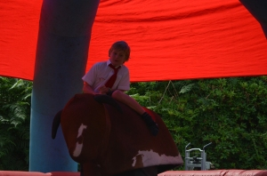 Visitors had fun on the rodeo bull and other inflatables.
